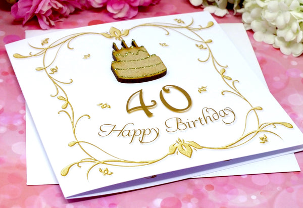 40th Birthday Card - Wooden Birthday Cake Alternate View
