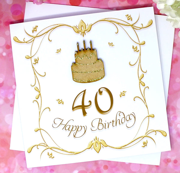 40th Birthday Card - Wooden Birthday Cake Front