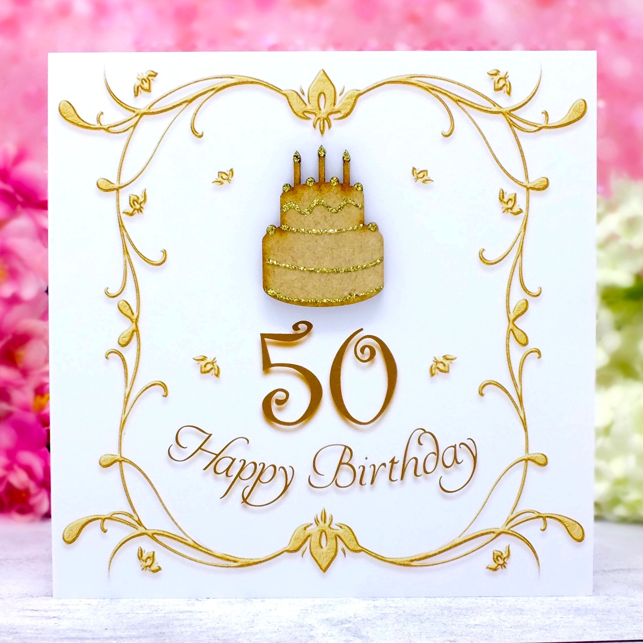 Luxury 50th Birthday Card - Wooden Birthday Cake