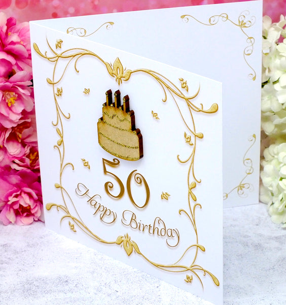 50th Birthday Card - Wooden Birthday Cake Side