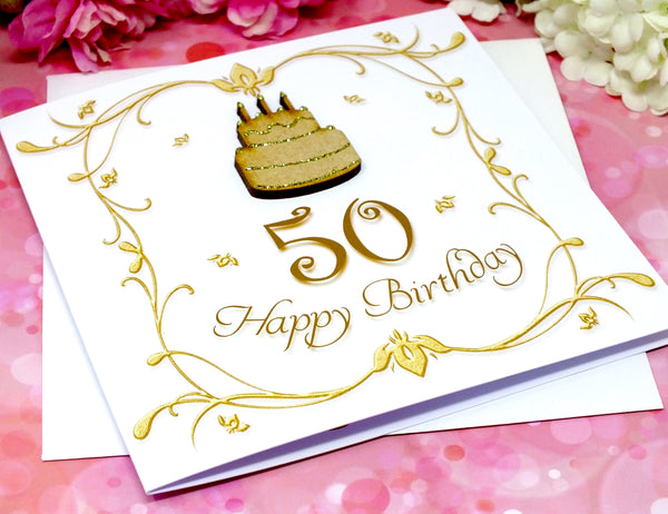 50th Birthday Card - Wooden Birthday Cake Alternate View