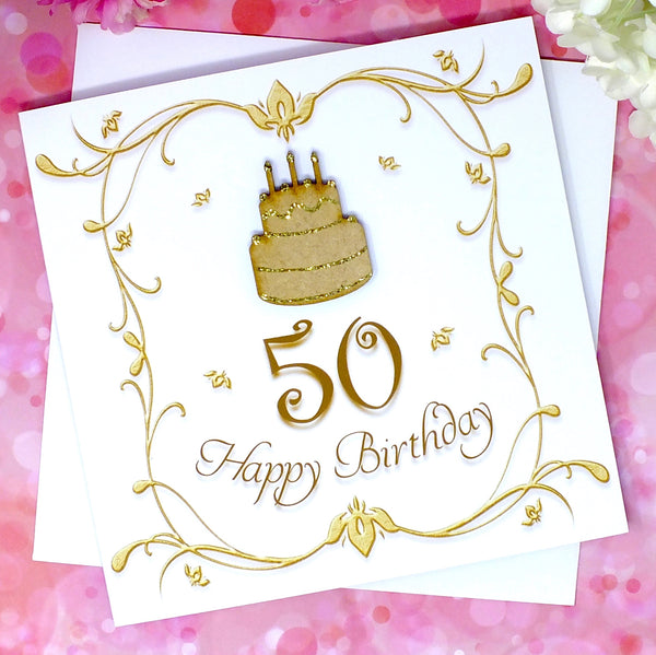 50th Birthday Card - Wooden Birthday Cake Front