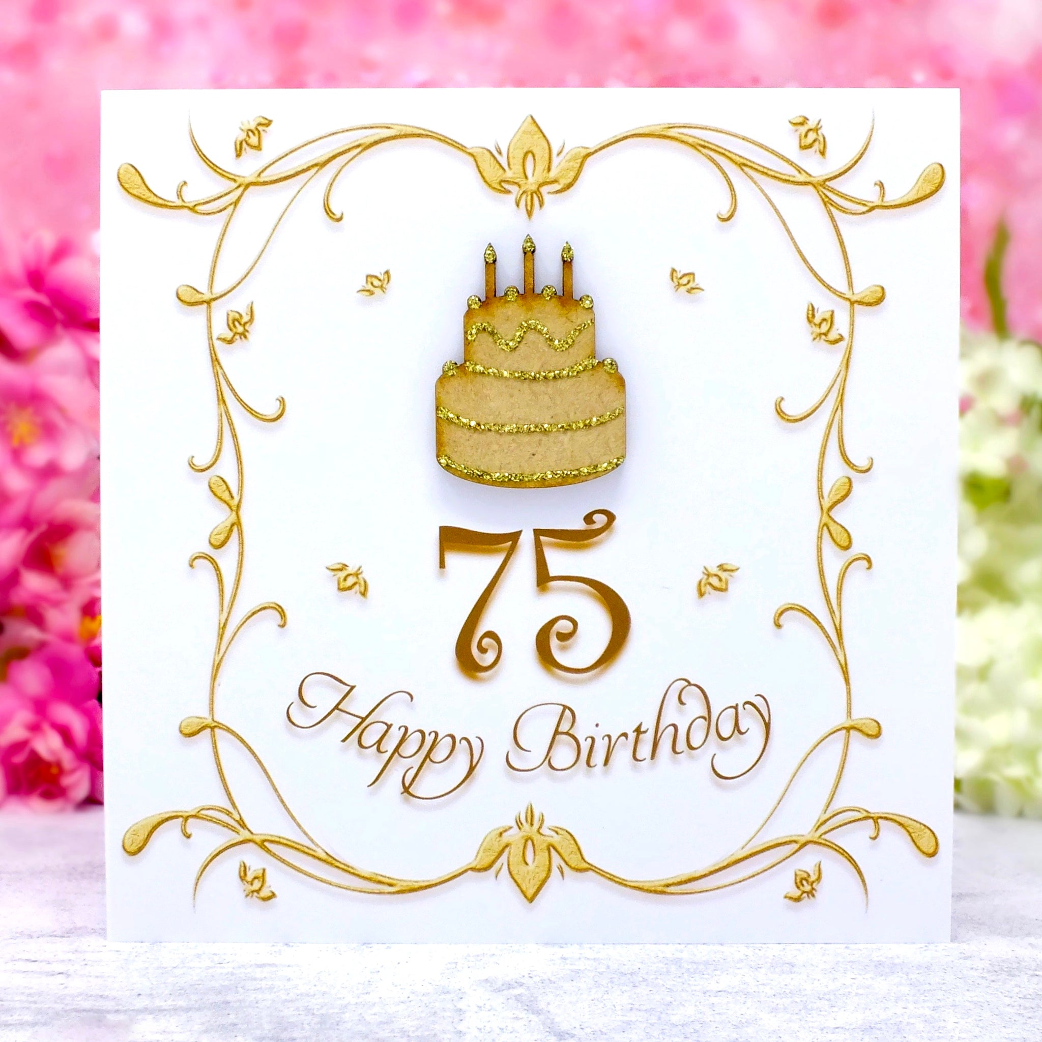 75th Birthday Card - Wooden Birthday Cake Main