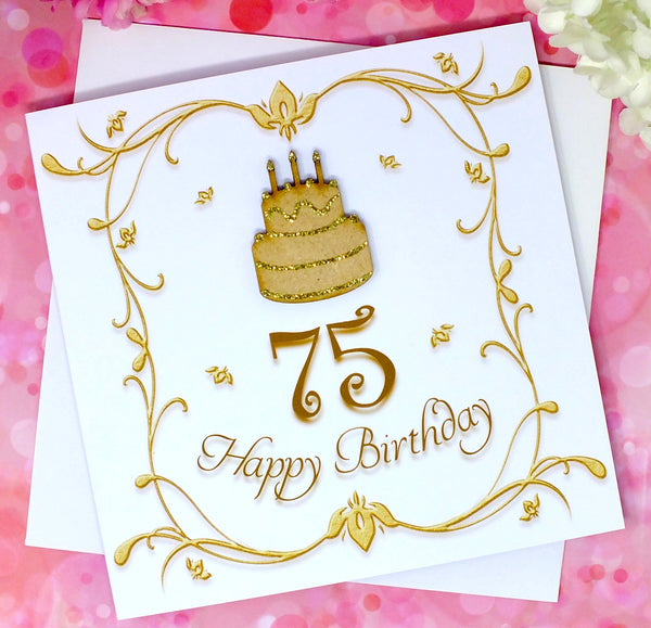 Luxury 75th Birthday Card - Wooden Birthday Cake