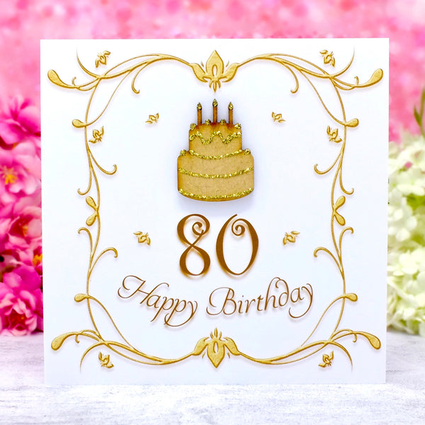 80th Birthday Card - Wooden Birthday Cake Main