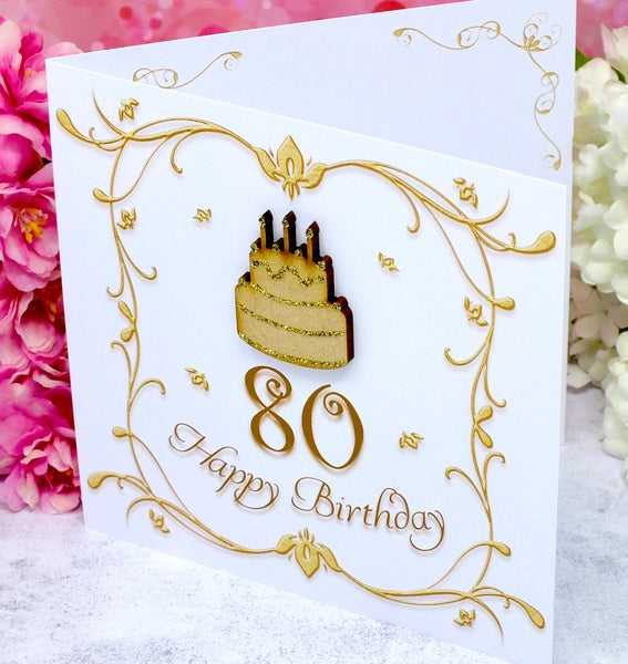 80th Birthday Card - Wooden Birthday Cake Side