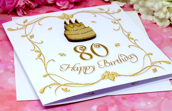 80th Birthday Card - Wooden Birthday Cake  Alternate View