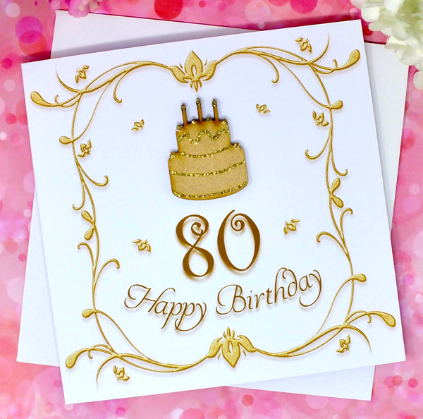 80th Birthday Card - Wooden Birthday Cake Front