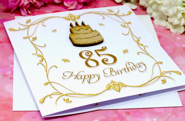 Luxury 85th Birthday Card - Wooden Birthday Cake