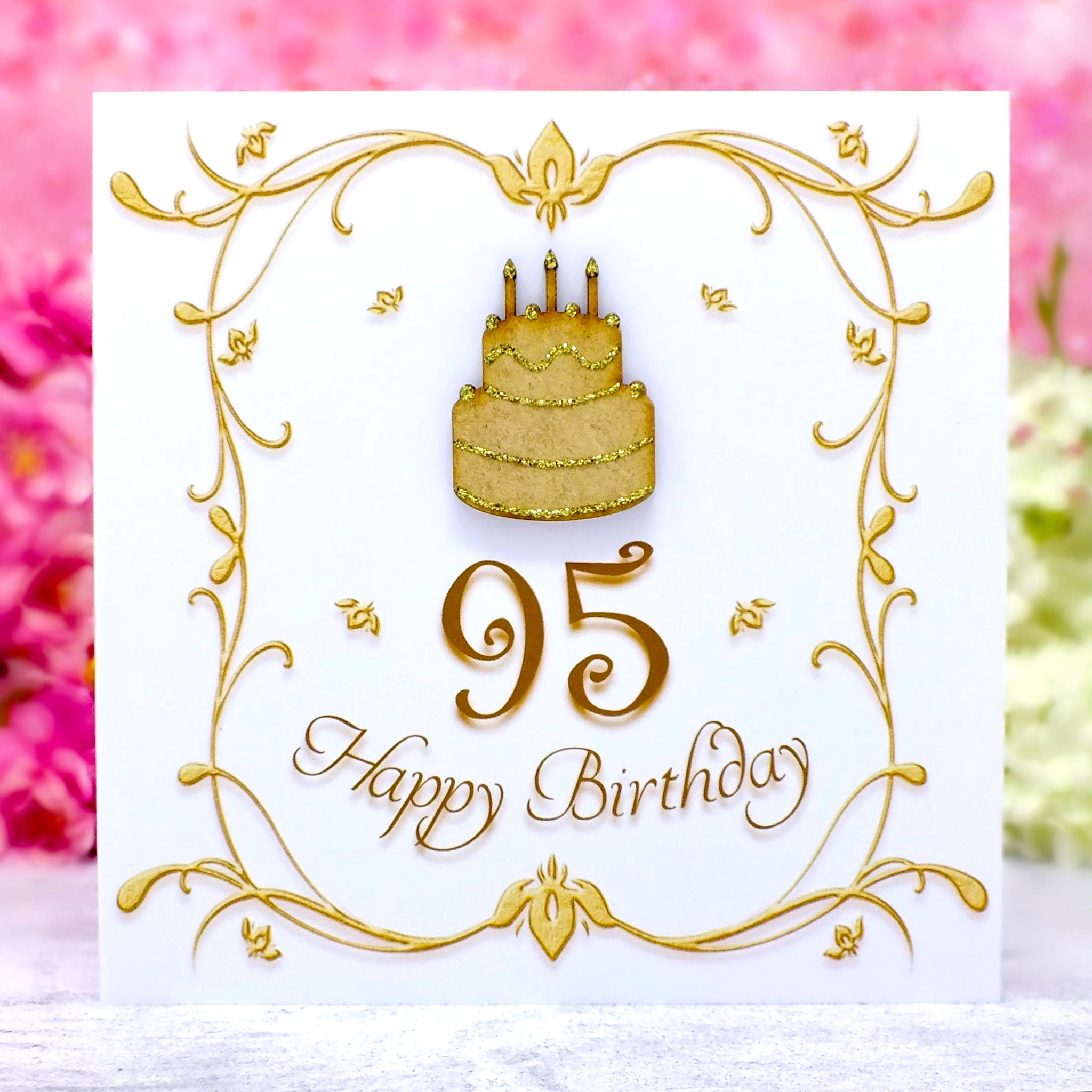 95th Birthday Card - Wooden Birthday Cake Main