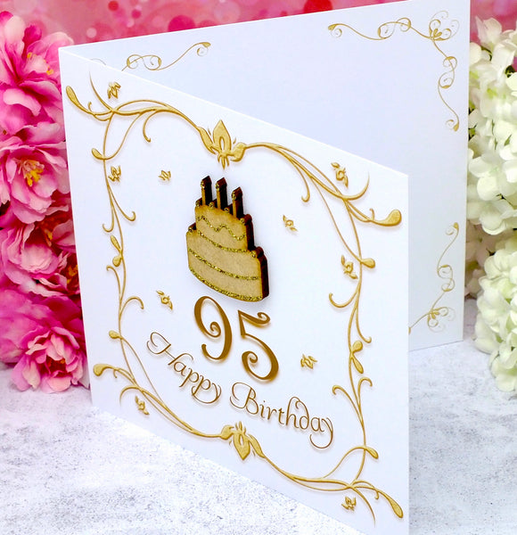 95th Birthday Card - Wooden Birthday Cake Side