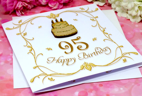 95th Birthday Card - Wooden Birthday Cake Alternate View
