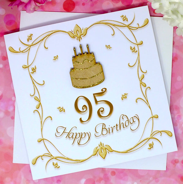 95th Birthday Card - Wooden Birthday Cake Front