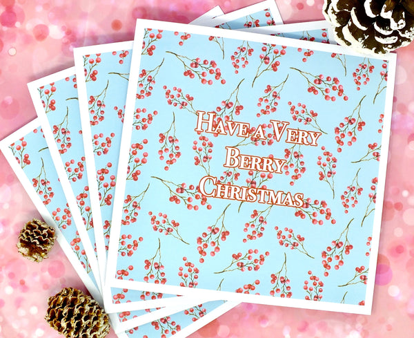 Have a Very Berry Christmas - Pack of 4 Christmas Cards Pack