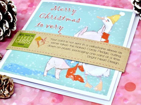 Special Friend or Friends Christmas Card - Cute Duck & Pig