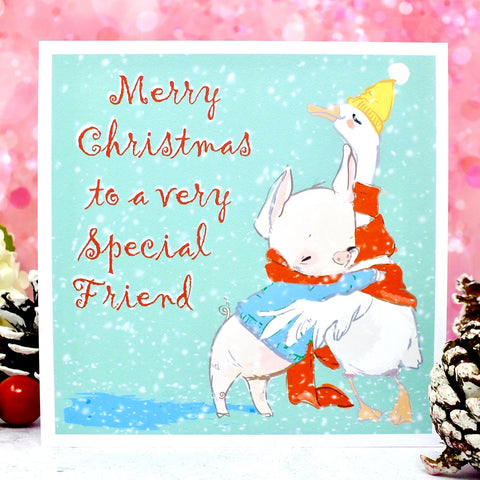 Special Friend or Friends Christmas Card - Cute Duck & Pig Main