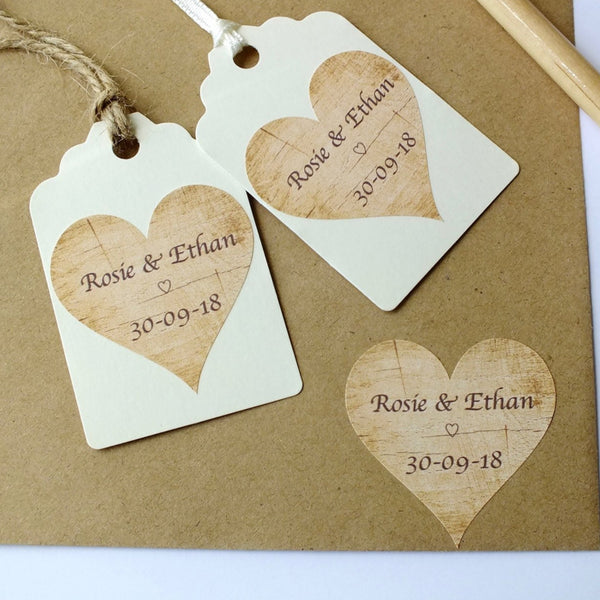 Personalised Wedding Stickers / Labels - 72 x Rustic Wood Theme Alternate