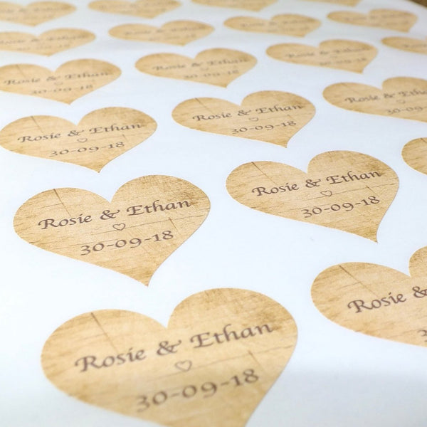 Personalised Wedding Stickers / Labels - 72 x Rustic Wood Theme Close Up