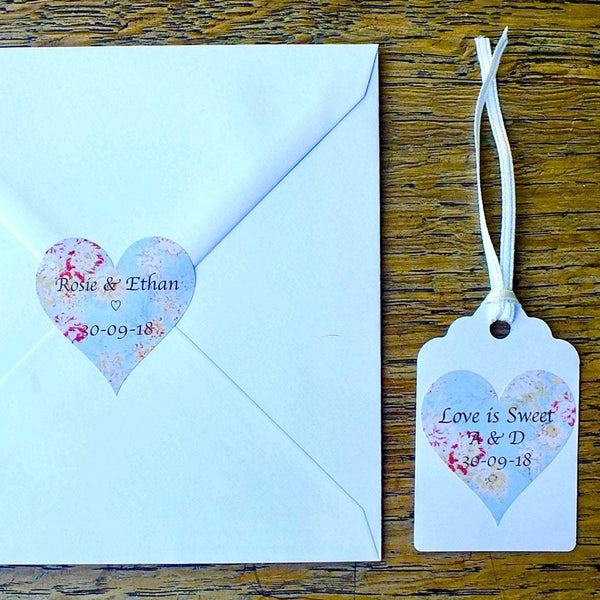 Personalised Wedding Stickers x 72 - Love is Sweet - Vintage Blue Floral