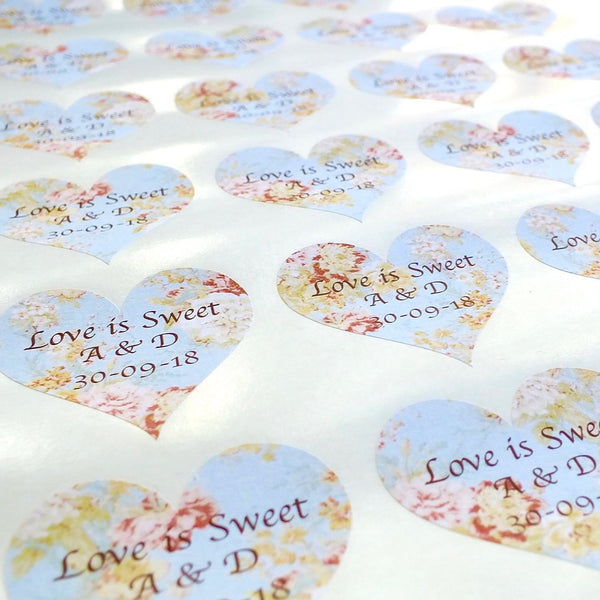 Personalised Wedding Stickers x 72 - Love is Sweet - Vintage Blue Floral front