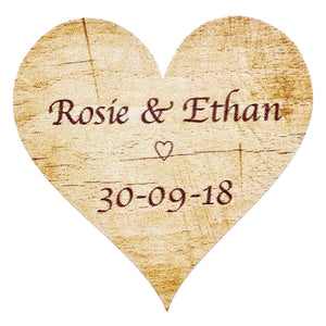 Personalised Wedding Stickers / Labels - 72 x Rustic Wood Theme Main