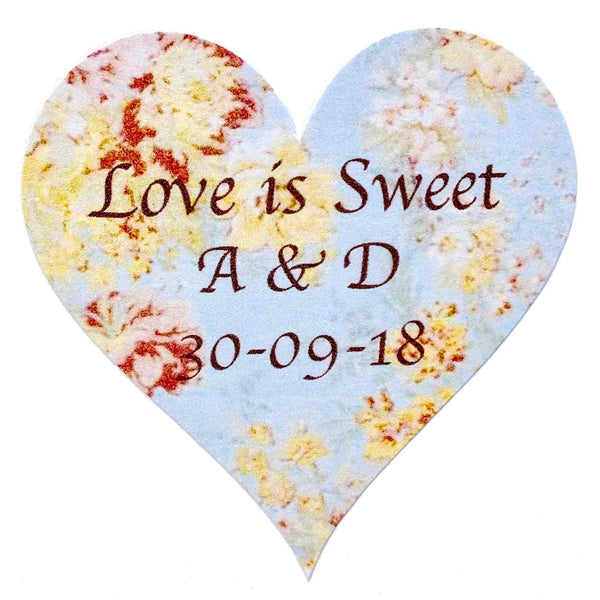 Personalised Wedding Stickers x 72 - Love is Sweet - Vintage Blue Floral Main