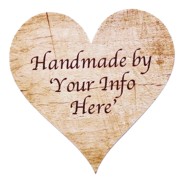 Personalised 'Handmade By' Stickers, 72 Rustic Wooden Theme x 72