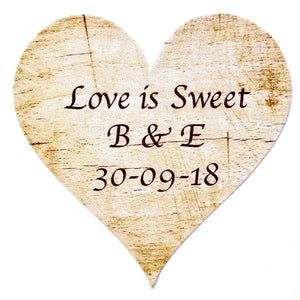 Personalised Wedding Stickers x 72 - Love is Sweet - Rustic Wood Theme