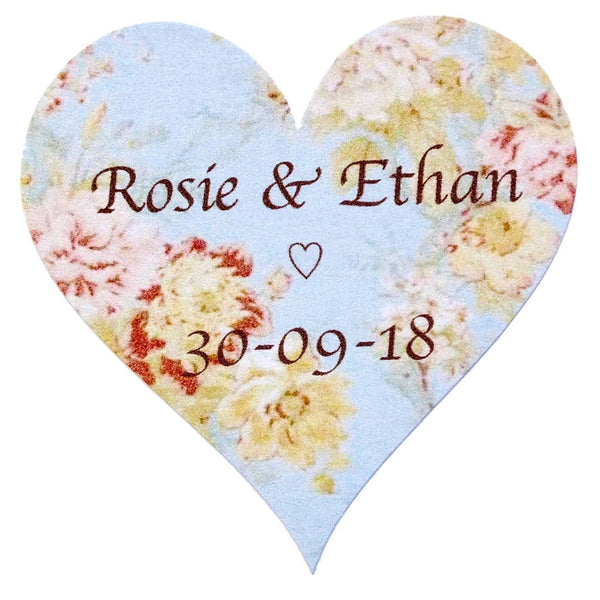 Personalised Wedding Stickers x 72 - Vintage Blue Floral Love Hearts