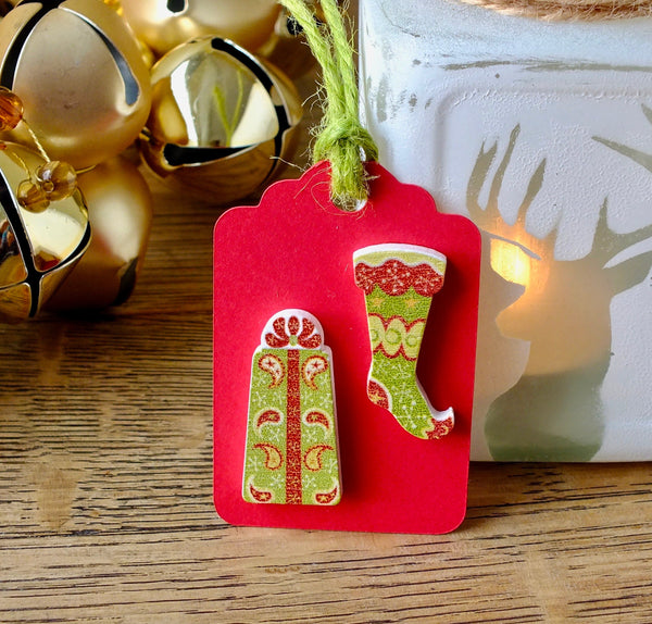 3 x Luxury Wooden Christmas Gift Tags - Stocking & Gift