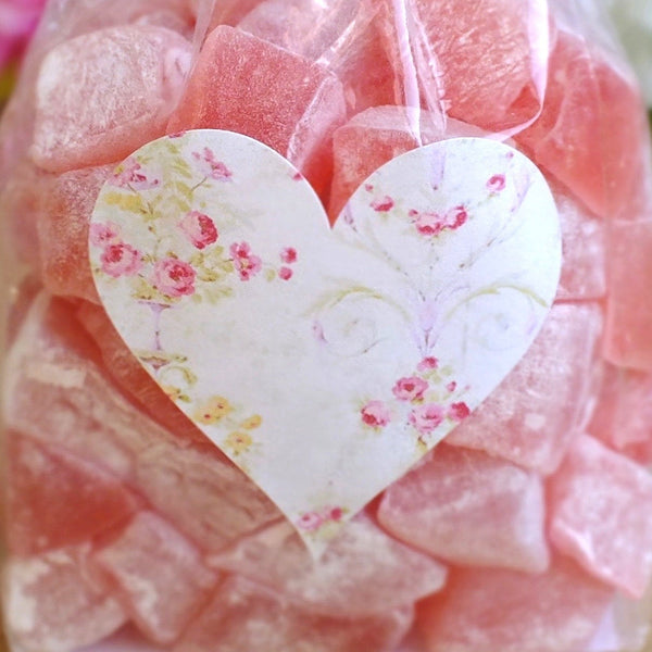 72 x Pink Floral Love Heart Stickers / Labels
