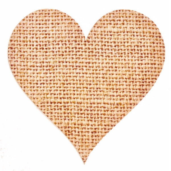 72 x Rustic Love Heart Stickers / Labels - Hessian, Burlap Main