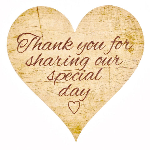 Thank You for Sharing our Special Day - Wedding Stickers, Rustic Wooden Theme x 72