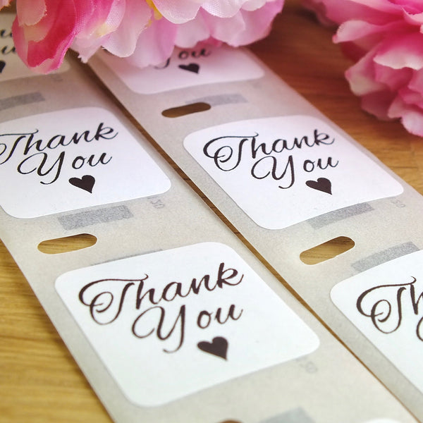 Thank You Stickers - Set of 100 White Square