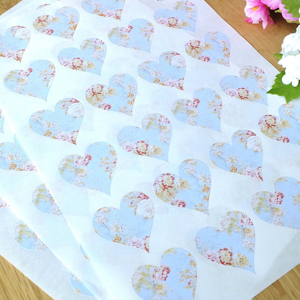 Vintage Blue Floral Love Heart Wedding Stickers x 72