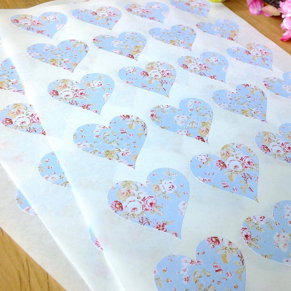 72 x Blue Vintage Shabby Chich Floral Stickers Alternate