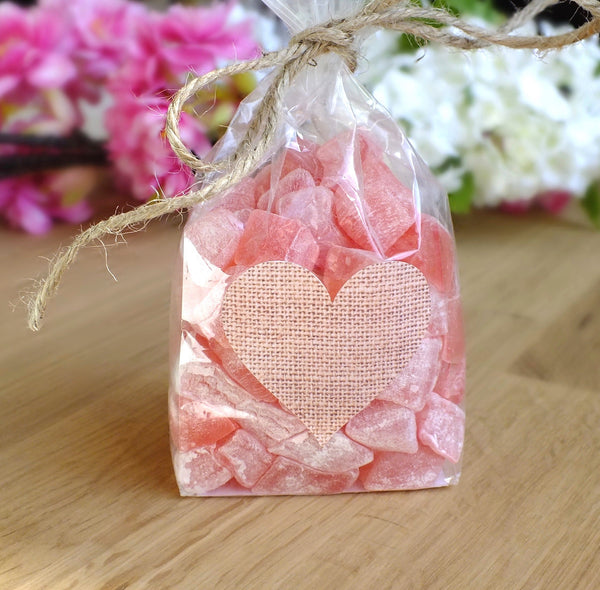 72 x Rustic Love Heart Stickers / Labels - Hessian, Burlap Front