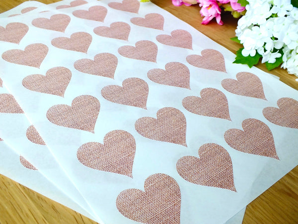 72 x Rustic Love Heart Stickers / Labels - Hessian, Burlap