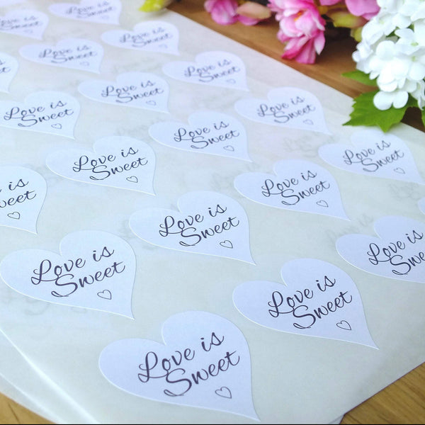 Love is Sweet, White Love Heart Stickers x 72