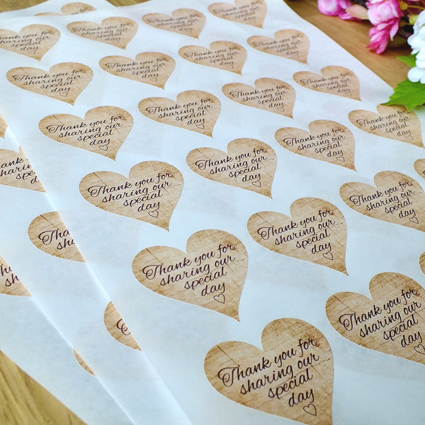 Thank You for Sharing our Special Day - Wedding Stickers, Rustic Wooden Theme x 72 Sheets