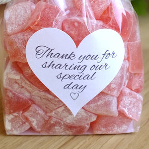 Thank You for Sharing our Special Day Stickers x 72 - White & Grey Love Heart