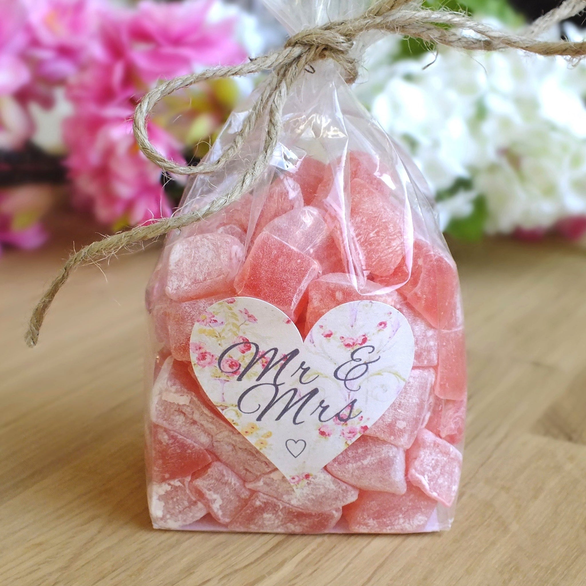 Mr & Mrs Stickers, Love Heart Floral Wedding Labels x 72