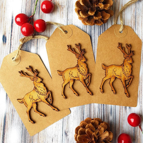Extra Large Luxury Christmas Gift Tags - Pack of 3 Rustic Wooden Stag Main