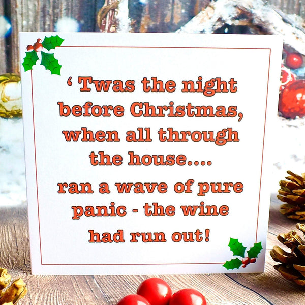 Funny Christmas Cards - Pack of 4 - 'Twas the Night Before Christmas