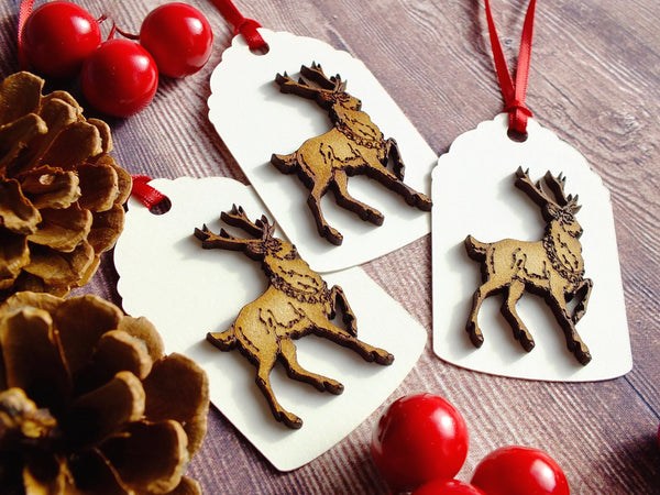 Pack of 3 Luxury Christmas Gift Tags - Rustic Wooden Stag