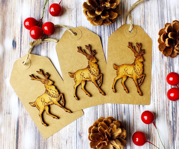 Extra Large Luxury Christmas Gift Tags - Pack of 3 Rustic Wooden Stag