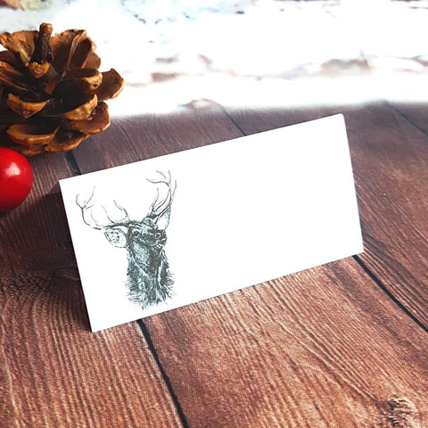 Stag Christmas Place Cards in White - Pack of 12