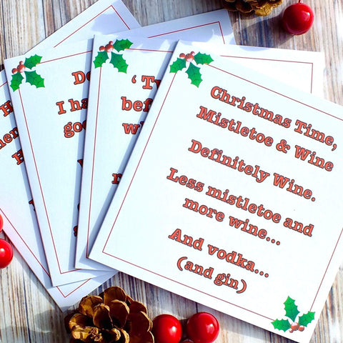 Funny Christmas Cards - Pack of 4 different designs
