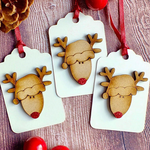 Set of 3 Luxury Christmas Gift Tags - Cute Rudi