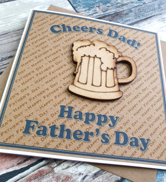 Father's Day Card - Cheers Dad! Beer Glass Design Side